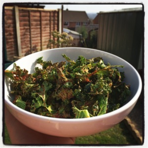 Healthy and cheap home-made kale chips
